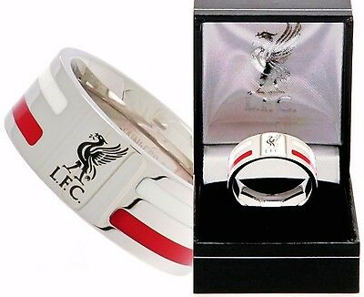Liverpool FC Edelstahl farbiger Streifen Band Ring komplettes in LFC