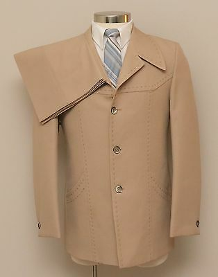 Vintage 1970s Mens 38R Marvin's 2 Piece Tan 3 Button Suit w/ Stitch Detail