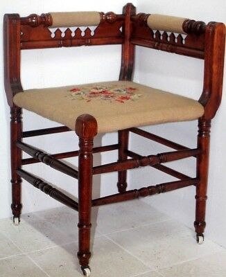Antique 19Th C. Cherry Needlepoint Victorian Eastlake Corner Occasional Chair.
