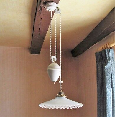 Antique French Porcelain / Brass Rise And Fall Ceiling Light Milk Glass Shade