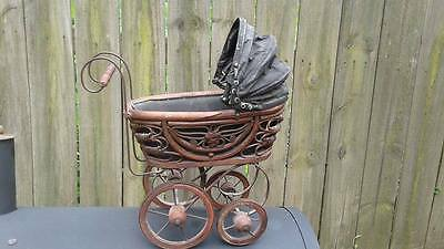Antique Victorian Baby Doll Carriage Buggy Wood Metal Scroll Canvas Fold Canopy