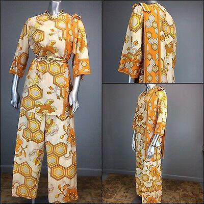 Vtg 70s Jumpsuit Psychedelic OpArt Geo Hex Borderprint WideLeg Lounge Disco NOS