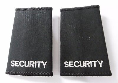 Pair Security Police Doorman Black Epaulette Slides Sliders Badges B1 SE2