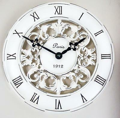 Shabby Chic Vintage French Style Wall Clock In Antique Cream - Perfect Country