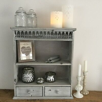 French Grey Chic Antique Shabby Style Shelf Wall Cabinet Unit Vintage Kitchen