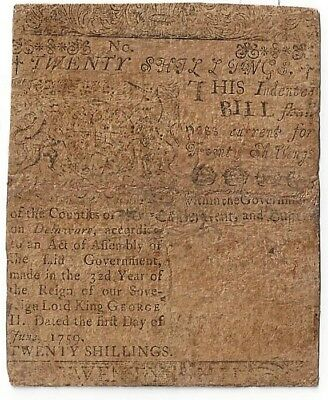 1759 Delaware Colonial Note 20 shillings Printed By Ben Franklin 7,750 printed