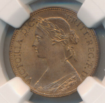 MAKE AN OFFER - Great Britain Farthing 1860 Beaded Borders - NGC MS 65 RB