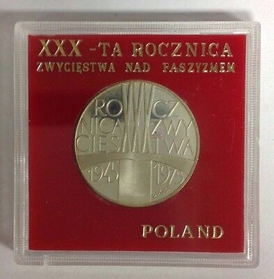 Poland 200 Zlotych Proof Silver Victory over Facism 1975 PR 268 Proba/Pattern