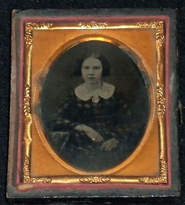 Vintage 1/9th Plate Ambrotype of Seated Woman/Slight Tint/Half Case