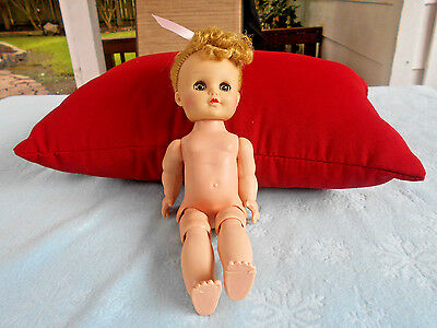 """Vintage 1950's Eegee 11"""" Nude Articulated Doll"""