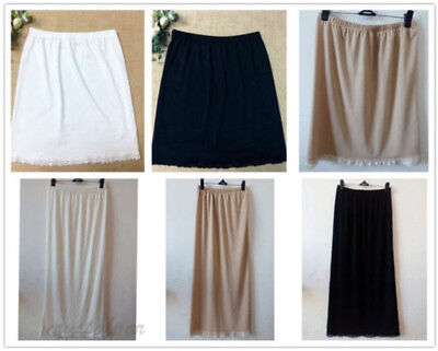 Women High Waist Petticoat Lady Black White Underskirt Half Short Slips 23-39""