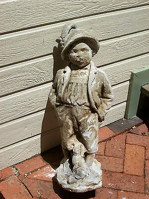 Antique French English Garden Solid Cement Yard Statue Boy Child