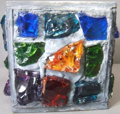 Peter Marsh Arts and Crafts Leaded Stained Nugget Glass Square Lamp Shade