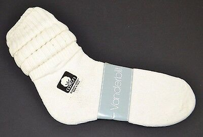 VINTAGE 1980's 1 Pair Cotton SLOUCH Baggy Push-Down SOCKS White - NEW OLD STOCK
