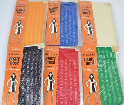 Vtg 1960's Lot of 6 Children's SPELLBOUND Colorful STRIPED PATTERN Pantyhose 4-6