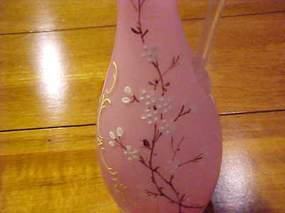 "Pink Mother Of Pearl Satin Glass 8"" Ewer W Enamelling"
