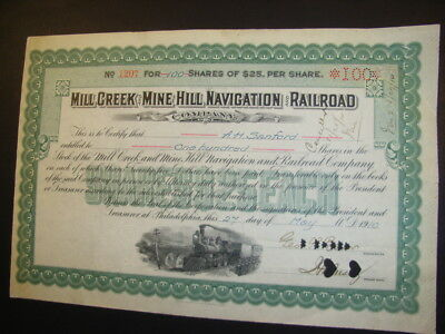 Mill Creek and Mine Hill Navigation and Railroad Company, 1910, shares