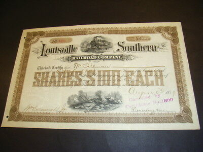 Louisville Southern Railroad Company, shares, 1889, 2 beautiful vignettes