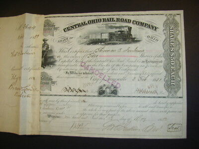 Central Ohio Rail Road Company, shares, 1881, 3 vign., signed by J. W. Garrett
