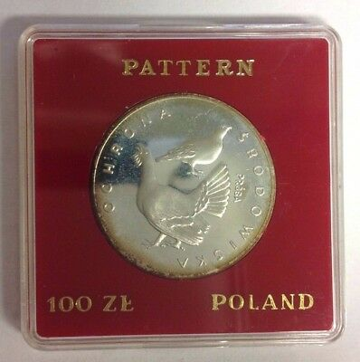 Poland 100 Zlotych Proof Silver Grouse Bird 1980 PR 399 Proba/Pattern