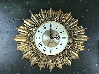 Old Vintage Mid Century Seth Thomas Gold Sunburst Wall Clock