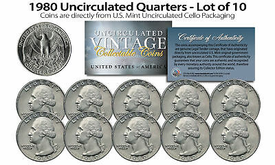 1980 US MINT QUARTERS Uncirculated Coins from U.S. Mint Cello Packs (QTY 10)