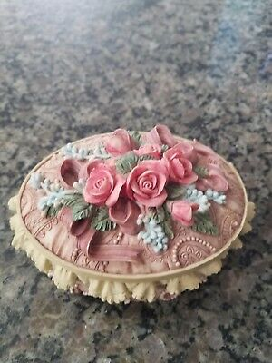 "San Francisco Music Box ""The Rose"" musical jewelry trinket box pink mauve cream"