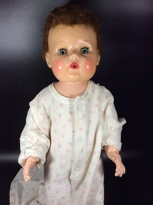 """Tiny Tears 1950s American Character Doll 17"""" Vinyl Body Squeaks"""