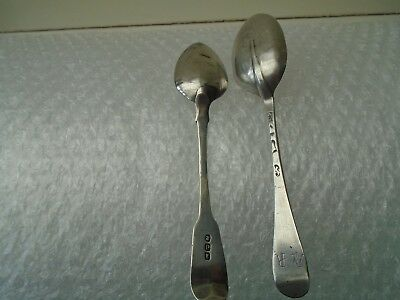 2 very old antique silver spoons with hallmarks   possibly georgian    LOOK