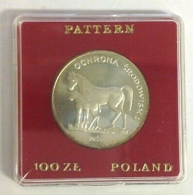 Poland 100 Zlotych Proof Silver Horses 1980 PR 448 Proba/Pattern