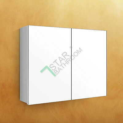 900 x 720x150mm Bathroom Mirror Cabinet Shaving Medicine Pencil Edge White Gloss