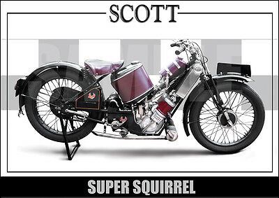 Scott Super Squirrel (1925) Laminated Motorcycle Print / Poster