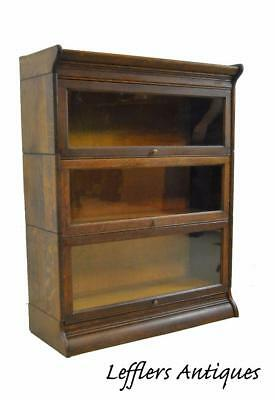 Antique Oak 3 Section Barrister Stacking Bookcase By Gunn