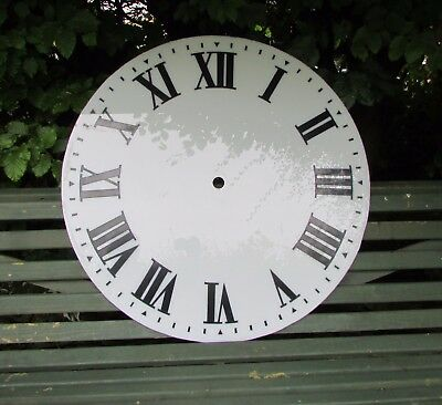 Large Round Turret Clock Dial. 32ins Black Painted Numerals on White Acrylic.