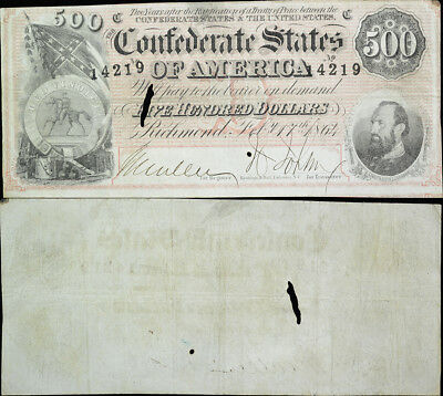 1864 $500 Five Hundred Csa Confederate States Of America Currency Note T-64