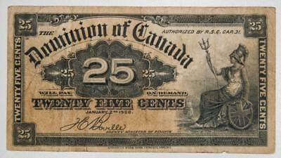 1900 Dominion of Canada Shinplaster Fractional Currency 25 Cents Item#J1165