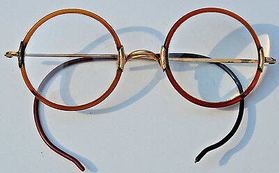 Shuron Antique Yellow Gold Fill Eyeglasses Harry Potter Windsor Style Round Lens