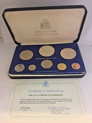 1975 Coinage Of Barbados Proof 8Pc Coin Set - 2 Silver Coins - W/ Coa & Box