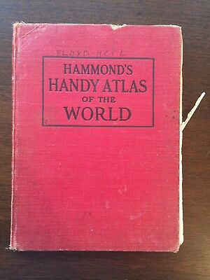 ANTIQUE 1910 Hammond's Handy Atlas of the World VINTAGE COLORED MAPS OLD HC