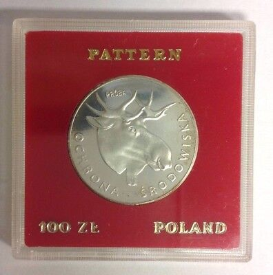 Poland 100 Zlotych Proof Silver Moose 1978 PR 327 Proba/Pattern