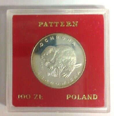 Poland 100 Zlotych Proof Silver Beaver 1978 PR 331 Proba/Pattern
