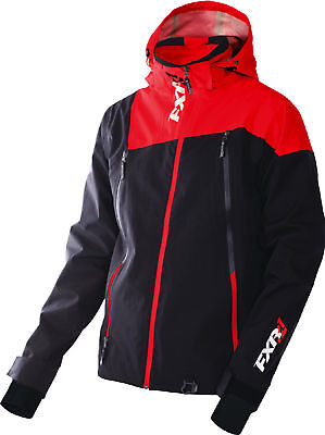 FXR Mens Black/Red Mission Waterproof Trilaminate Shell Jacket Outerwear