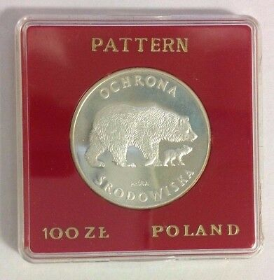 Poland 100 Zlotych Proof Silver Bears 1978 PR 489 Proba/Pattern