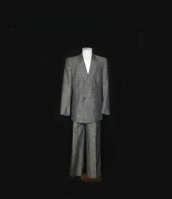Vintage 80s Miami Vice Gray Sharkskin Brat Pack Suit Tapered Pants Halloween Med