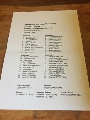 Teamsheet - 2018 FIFA World Cup Qualifying Match - England v Lithuania 26.3.2017