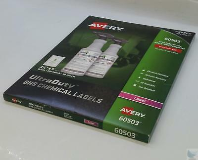 NEW NIB Pack Avery 60503 Laser GHS Chemical Labels 50 Sheets 200 Labels /Box