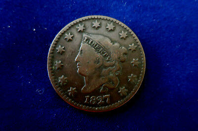 1827 Coronet Head One Cent Coin
