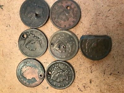 Lot of 7 U.S. Large Cents with Holes