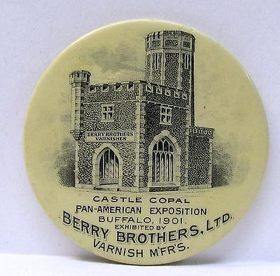 rare 1901 BERRY BROTHERS Varnish PAN-AMERICAN EXPO Castle Copal pocket mirror *