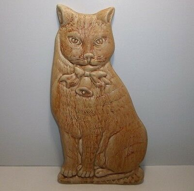 """Vintage YELLOW TABBY CAT Plaque Tile Made In ITALY 10.75"""""""